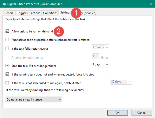 Setting a scheduled task to allow the users to run it on demand