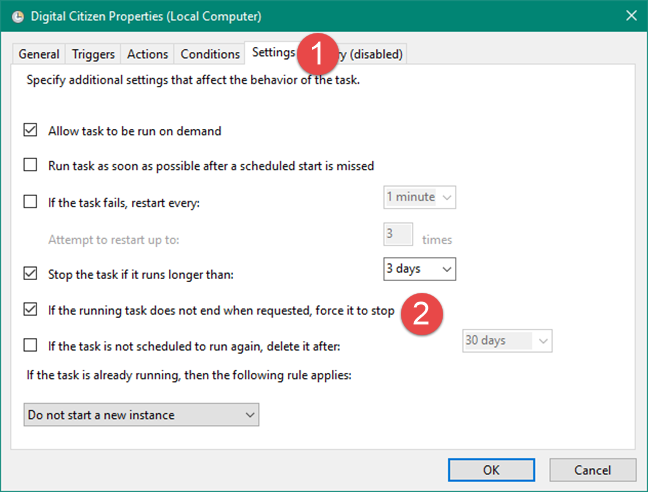 Configuring the Task Scheduler to force a scheduled task to stop if it does not stop by request