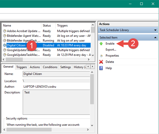 Enabling a scheduled task