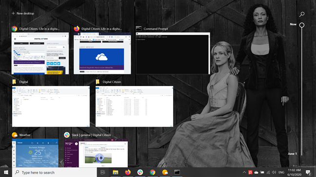 Task View displays all open windows