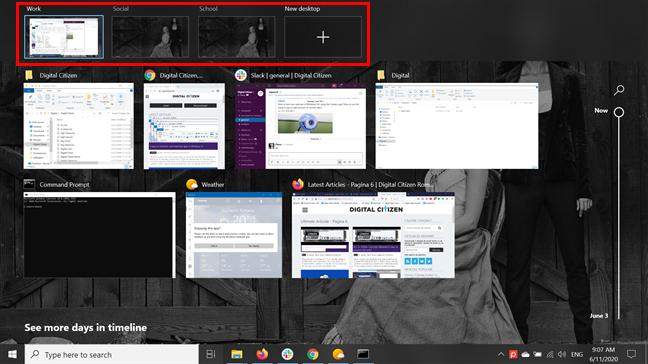 Virtual desktops in Task View