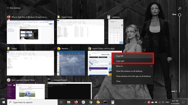 Snap app windows into place