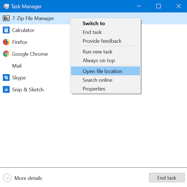 Open file location to find an app's executable