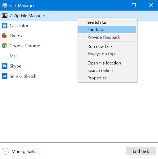 Close apps from the Task Manager compact view