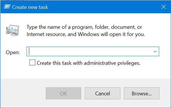 The Create new task or Run window