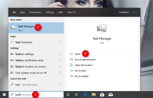 Usar la búsqueda para abrir el Administrador de tareas