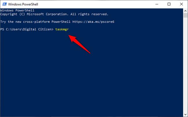 Ejecutando el comando taskmgr en PowerShell