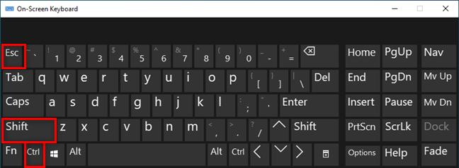 Presione Ctrl + Shift + Esc para abrir el Administrador de tareas