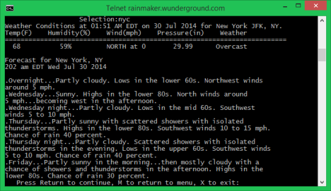 Telnet Client, fun, geeky, weather, forecast