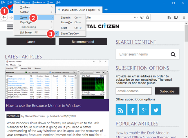 Set Zoom Text Only in Mozilla Firefox