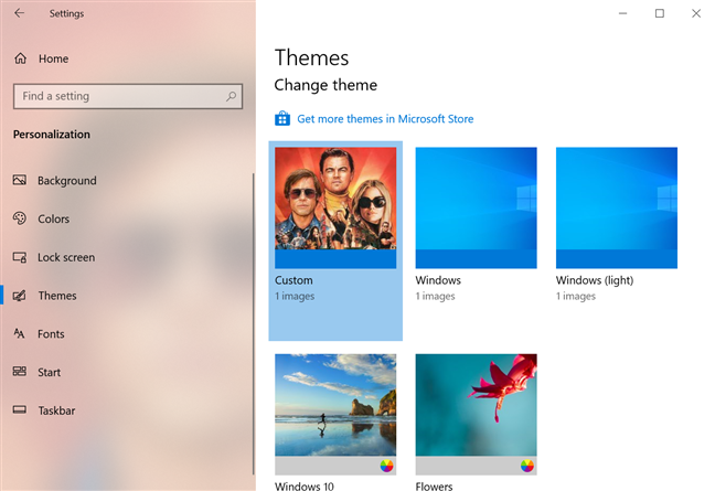 See the themes available in Windows 10