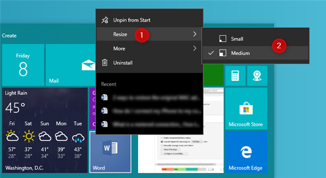 Resize a shortcut on the Start Menu in Windows 10