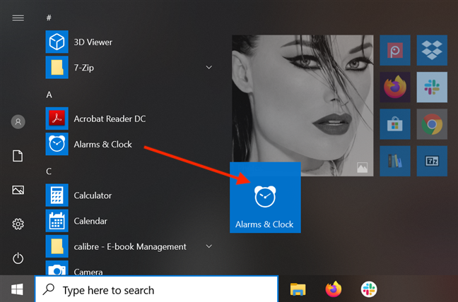 Drag and drop a Start Menu shortcut to create a tile