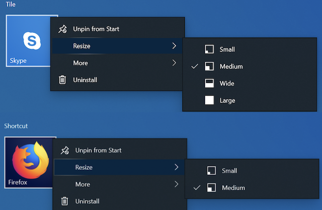 Tile vs. shortcut size in Windows 10