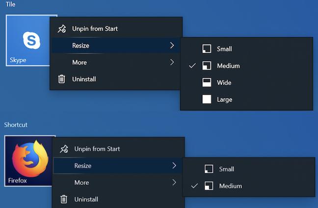 Tile vs. shortcut size in Windows 10