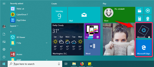 Medium-sized tiles on the Start Menu