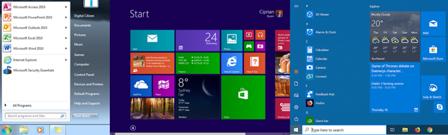 The evolution of the Start Menu from Windows 7 to Windows 8 to Windows 10