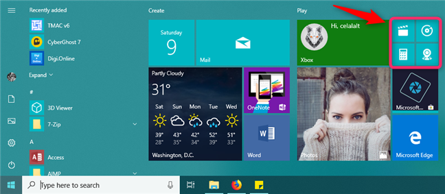 Small tiles on the Start Menu