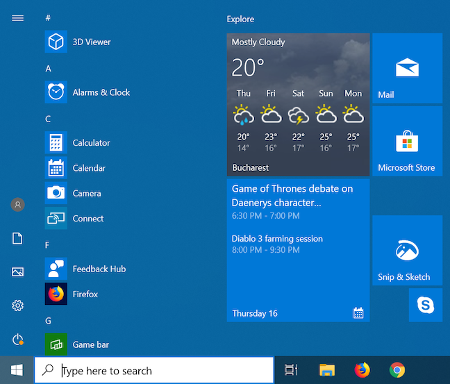 See the Weather forecast and the Calendar straight from their Windows tiles