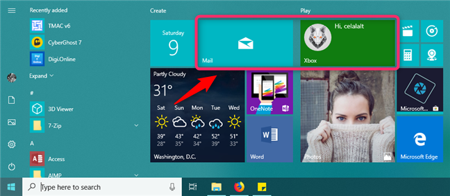 Wide tiles on the Windows 10 Start Menu