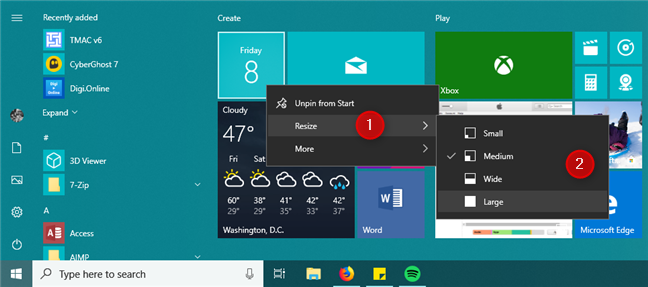Resize a tile from the Start Menu in Windows 10
