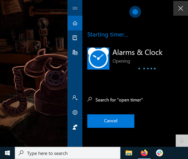 Cortana opening the Timer