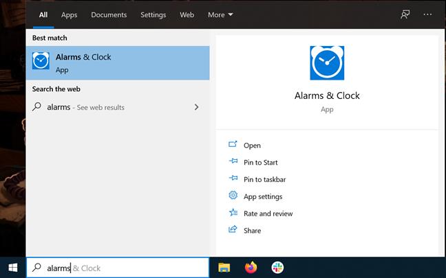 Open Alarms & Clock from your taskbar