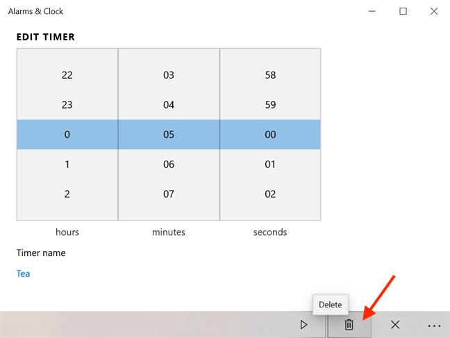 Press Delete to remove a timer