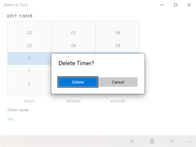 Press Delete to confirm the removal of the timer