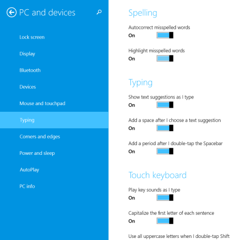 Windows 8.1, touch, keyboard, sounds, autocorrect, settings, spelling