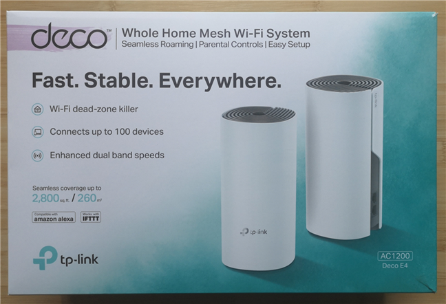 The packaging of the TP-Link Deco E4