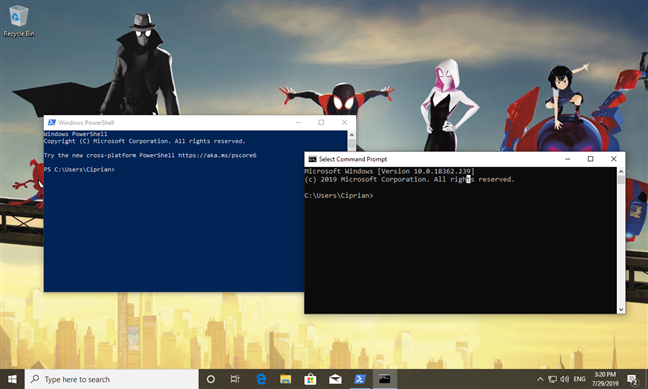 PowerShell and Command Prompt in Windows 10