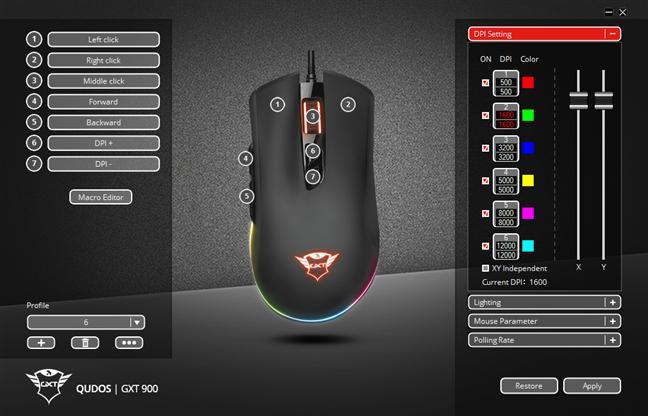 The Trust GXT GXT 900 Qudos mouse app