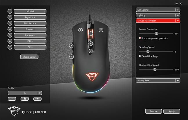 Adjusting mouse parameters