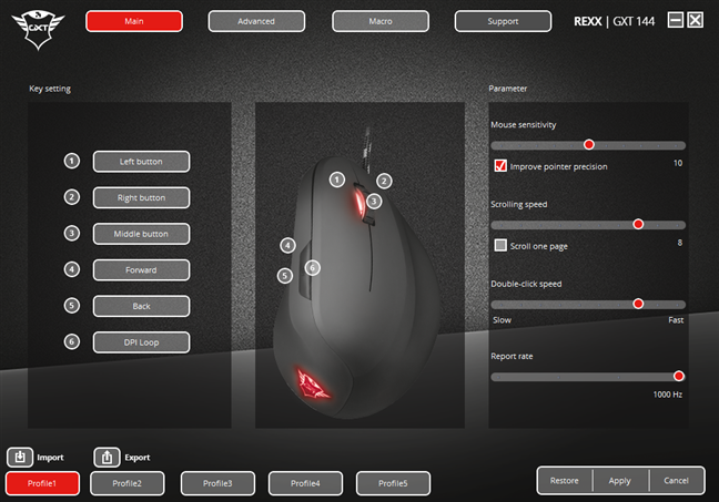 The software for the Trust GXT 144 Rexx mouse