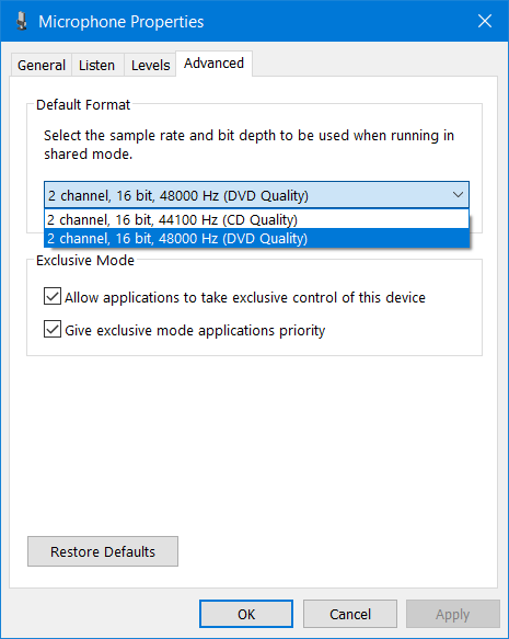 The advanced settings available for Trust GXT 256 Exxo
