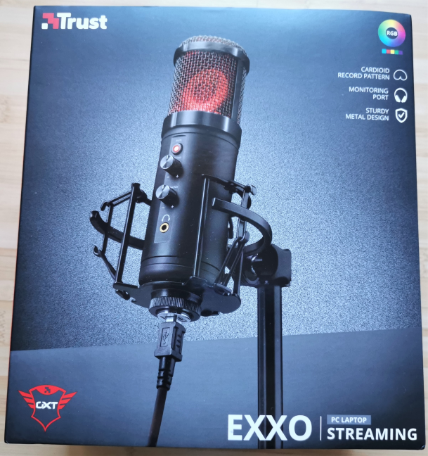 The packaging used for Trust GXT 256 Exxo