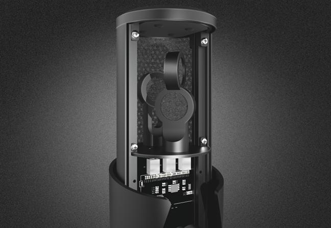 Pop filters inside the Trust GXT 258 Fyru microphone
