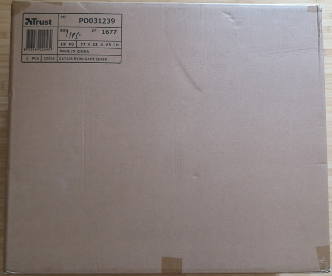The packaging of the Trust GXT 705 Ryon gaming chair