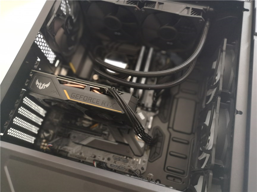 The ASUS TUF Gaming GT301 computer case with every component mounted