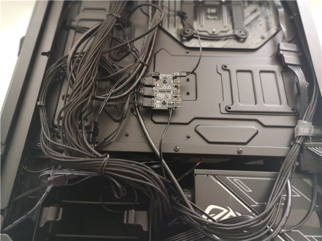 Beneath the backplate of the ASUS TUF Gaming GT301 computer case