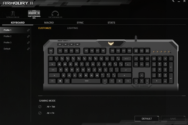 Customization options offered by the Armoury II software
