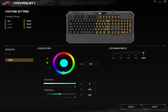 The illumination effects and settings for the ASUS TUF Gaming K5 keyboard