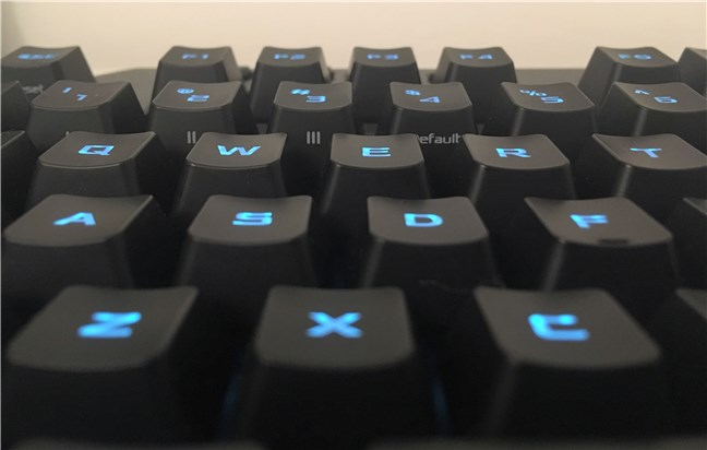 A view of the concave surfaces of the keys on the ASUS TUF Gaming K5