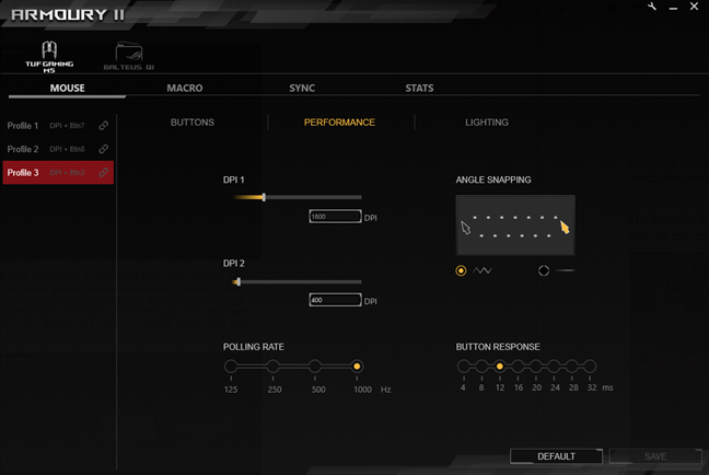Performance settings for the ASUS TUG Gaming M5 mouse