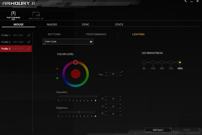 Color customization on the ASUS TUG Gaming M5 mouse