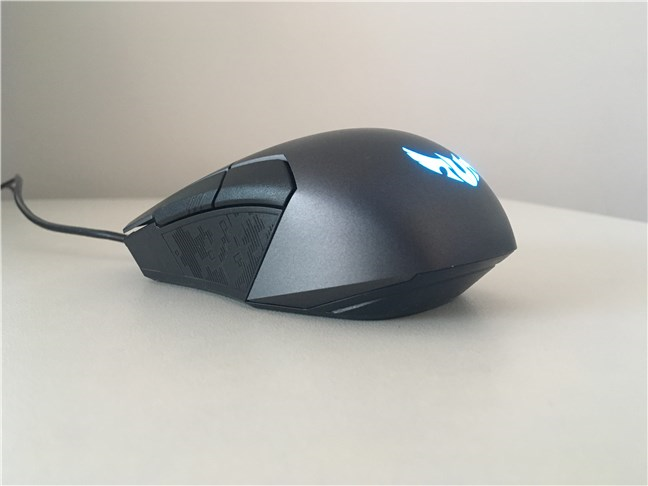 The ASUS TUG Gaming M5 mouse seen from left and behind
