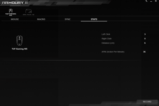Statistics recording for the ASUS TUG Gaming M5 mouse
