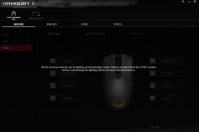 Aura Sync bug in the ASUS Armoury II software