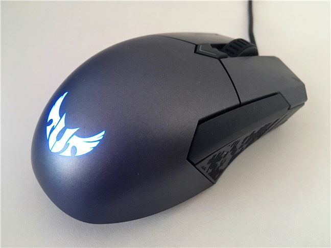 The ASUS TUG Gaming M5 mouse seen from behind